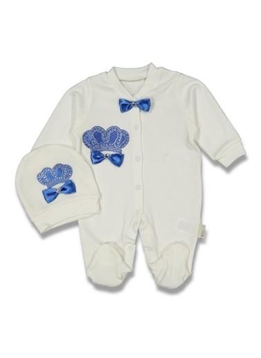 By Bebek Odam By Bebek Odam V Yaka Uzun Kol Pamuk Taç Baskılı Bereli Eldivenli  Bebek Tulumu Mavi